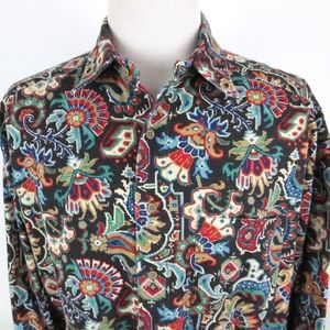Vtg Johnny Cotton XL Wild Paisley Shirt Button Up